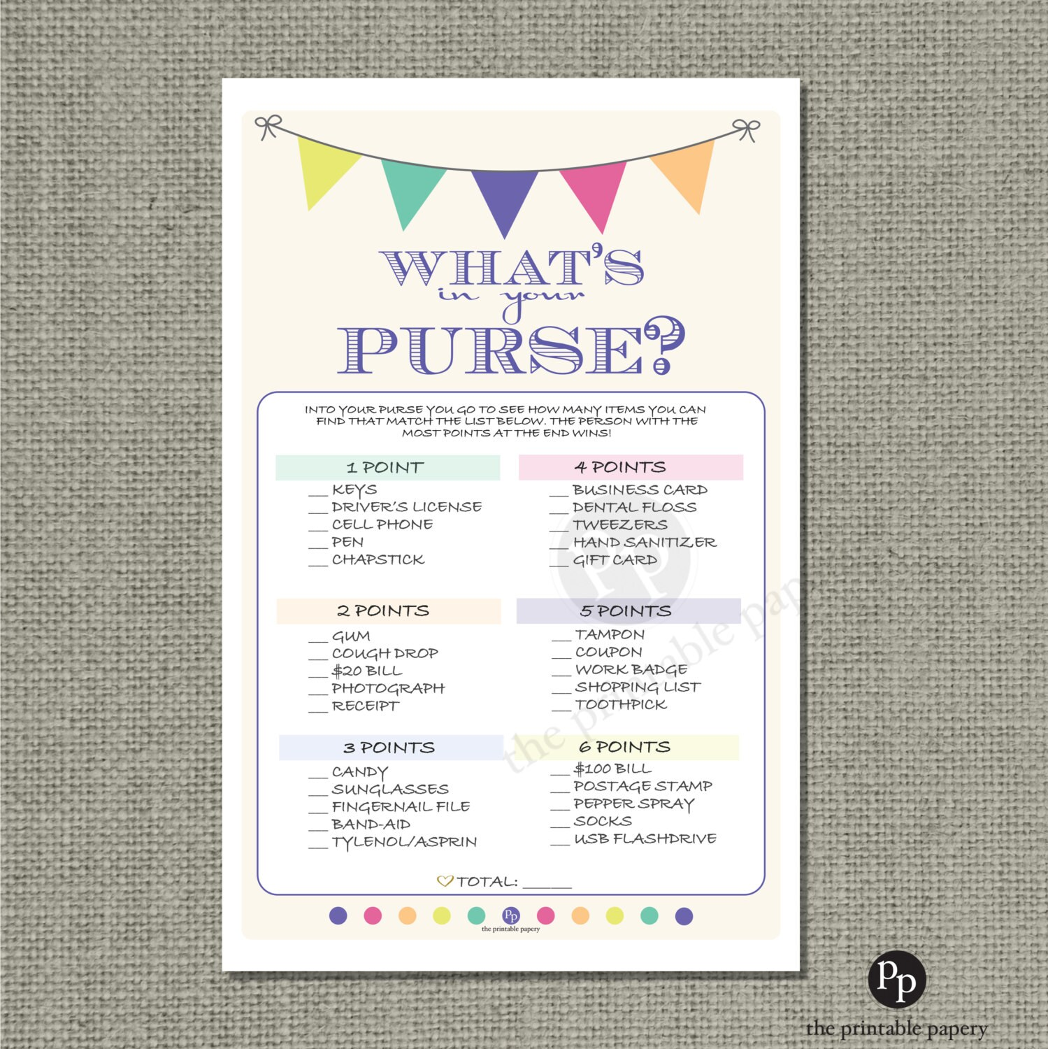 Printable What S In Your Purse Baby Shower Game Find
