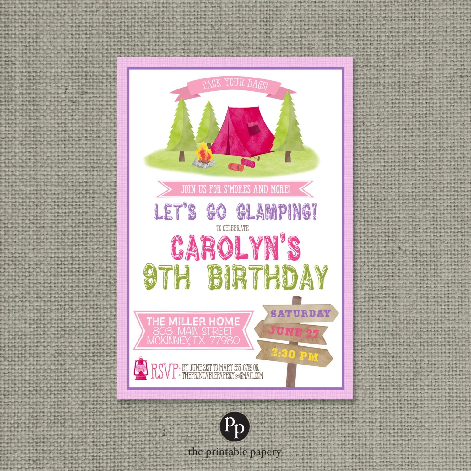 printable camping party birthday