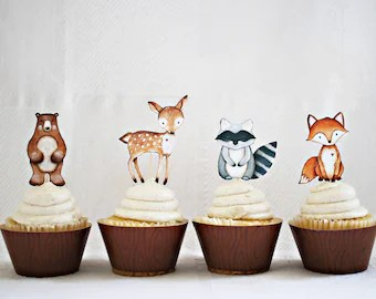 12 Woodland Cupcake Toppers Woodland Animal Cupcake Toppers Woodland Baby Shower Woodland Birthday Decor Hm111