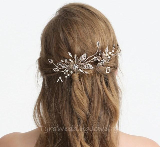 set of 2,antique gold bridal hair pin,floral antique gold
