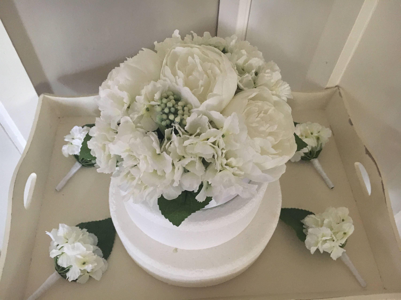 Wedding Artificial Floral Cake Topper Hydrangeas & Peonies