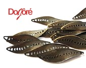 Pack of 100 Bronze Filigree Leaf Connector Charms. Nature Theme Leaves Pendants. 33mm x 10mm.