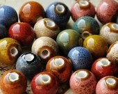 Pack of 40 Round Glazed Ceramic Beads. Different Colours. 10mm Multicoloured Speckled Ball Spacers