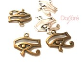 Pack of 20 Eye of Horus Charms. Bronze or Silver Egyptian Pendants. Wadjet Protection. 18mm x 16mm