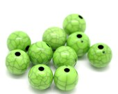 Pack of 100 Round Light Green Beads. 10mm Grey Pattern Spacers for Jewellery Making