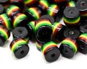 Pack of 50 Black Round Cylinder Tube Rasta Beads. Ghana Jamaica Reggae Stripes. 8mm x 8.5mm