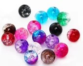 Pack of 100 Mini Crackle Glass 4mm Duo Tone Seed Beads. Different Colours Spacers Available.