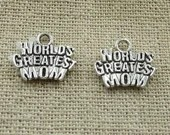 Pack of 50 Silver Colour WORLD'S GREATEST MOM Charms. 14mm x 12mm Pendants