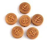 Pack of 45 Om Round Flat Acrylic Beads. 14mm Plastic Spacers