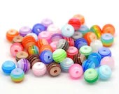 Pack of 500 Mini Assorted Colours Round Plastic Stripe Beads. 5mm x 6mm Resin Spacers
