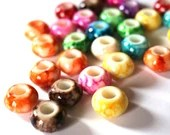 Pack of 100 Assorted Colours Speckled European Stripe Beads. 15mm x 9mm Round Acrylic Spacers