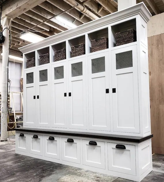 the shaker georgia mudroom lockers bench storage cubbies coat etsy