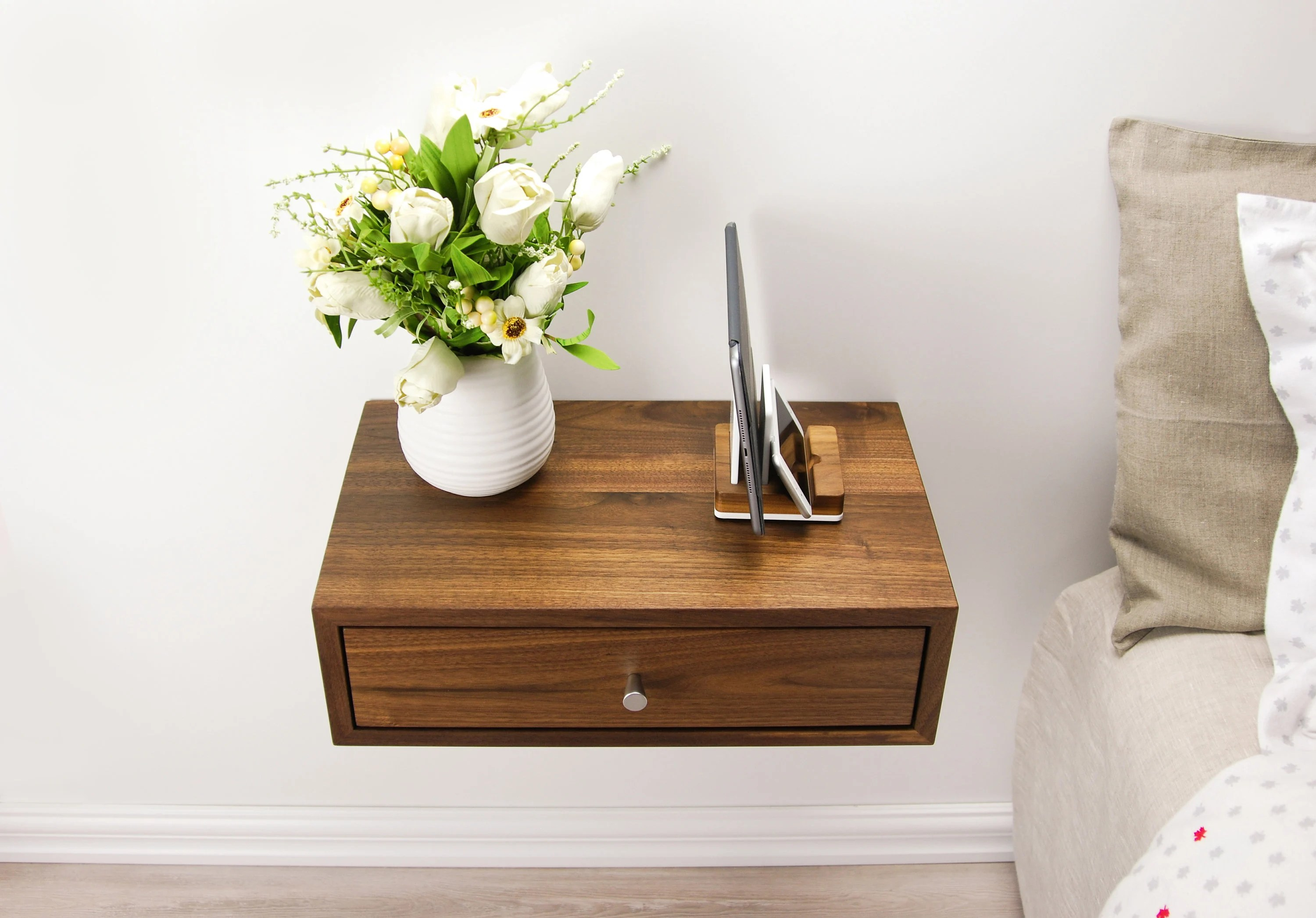 Solid Walnut Wood Floating Nightstand With Drawer Walnut