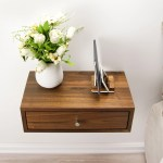 Solid Walnut Wood Floating Nightstand With Drawer Walnut