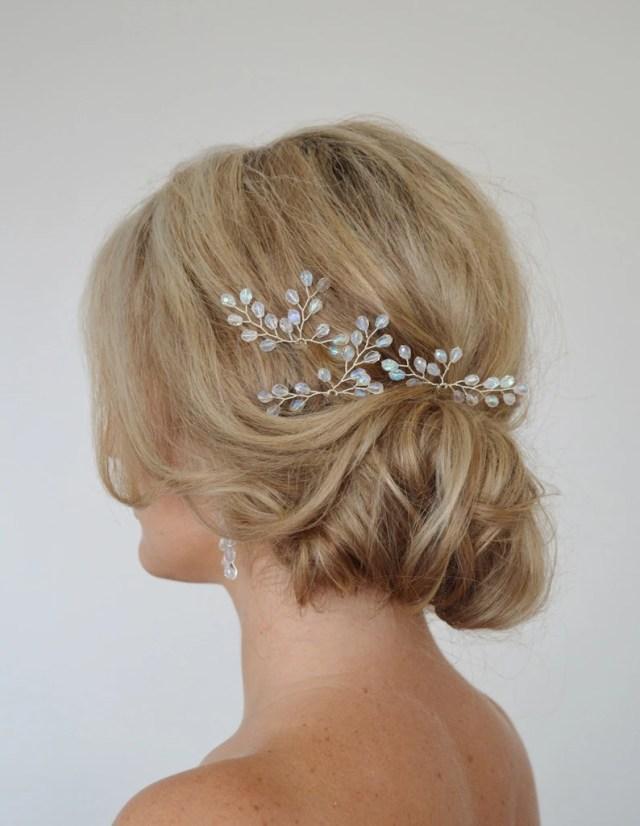 crystal hair pins, bridal hair accessories, bridal hair pins, princess bride, wedding hair pins, grecian fern leaf hair pins, set of 3