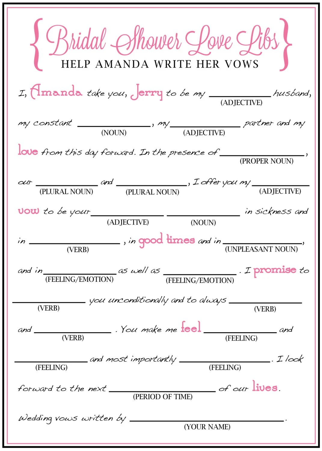 Bridal Shower Mad Libs Funny Write Your Vows