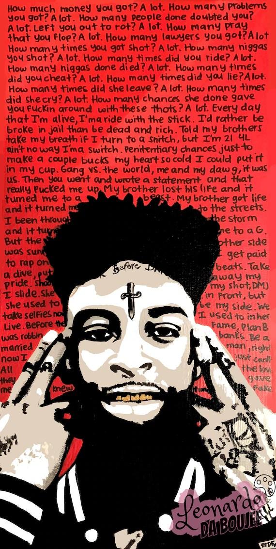 21 savage poster 21 savage print stencil art music poster home decor a lot lyrics