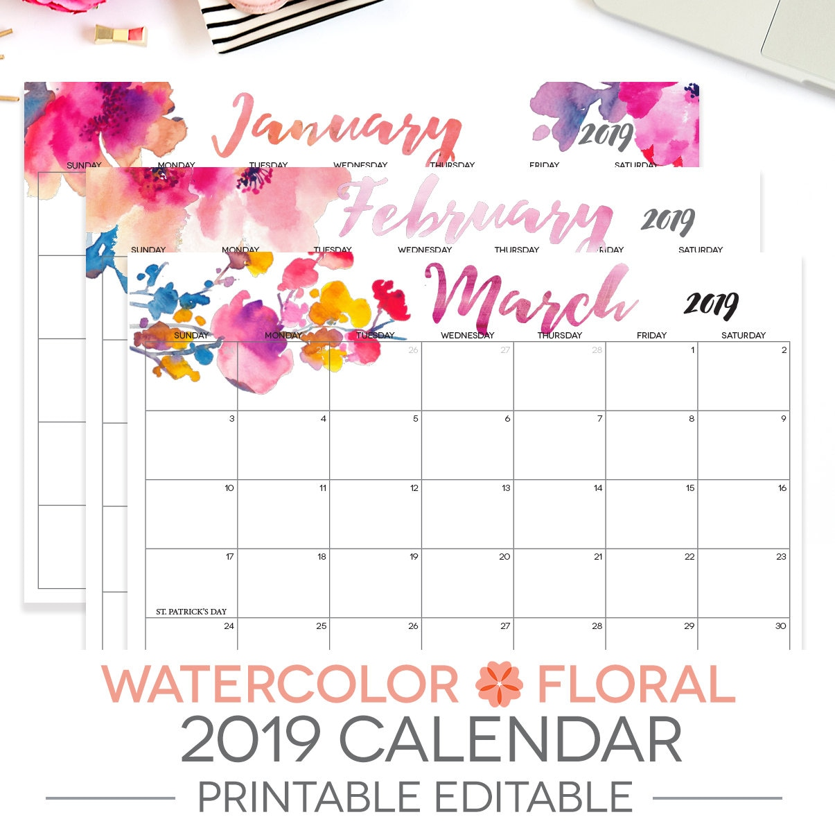 Printable Calendar Editable 12 Month Letter Size