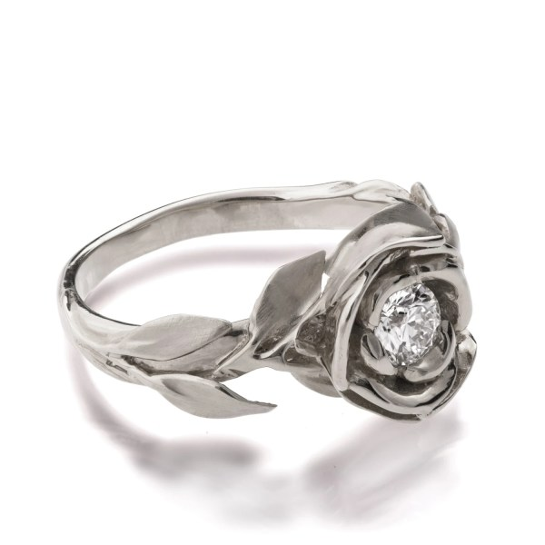 Rose Engagement Ring No 1 18K White Gold and Diamond   Etsy image 0