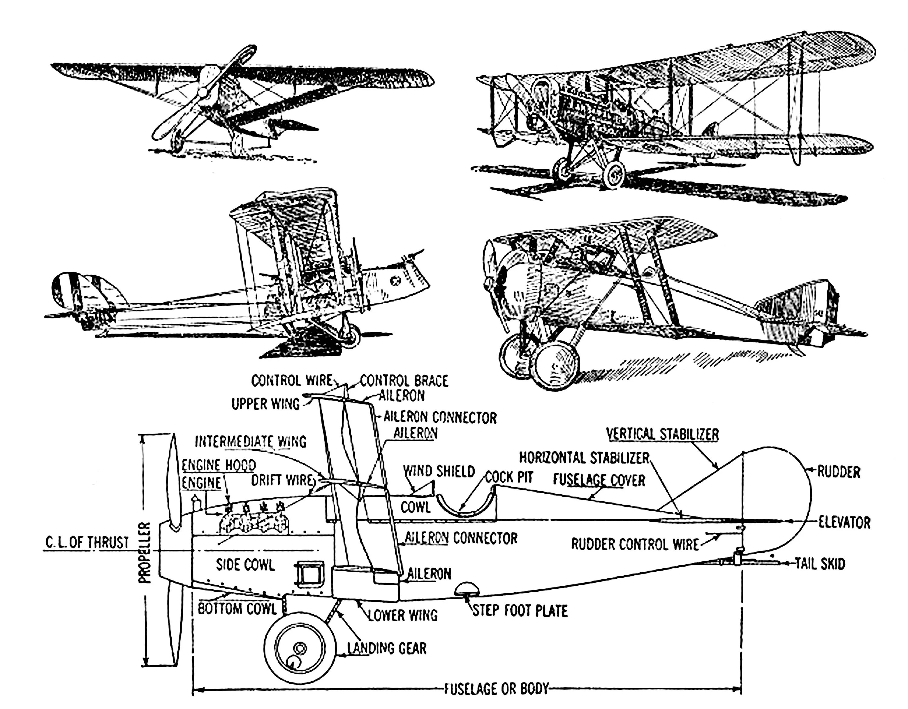 Vintage Airplane With Parts Label Ink Drawing Clipart