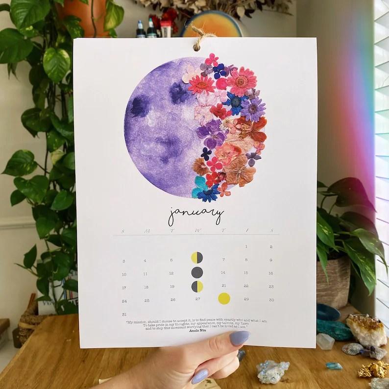 2021 Moon Calendar Watercolor Moon Phases Moon Calendar image 0