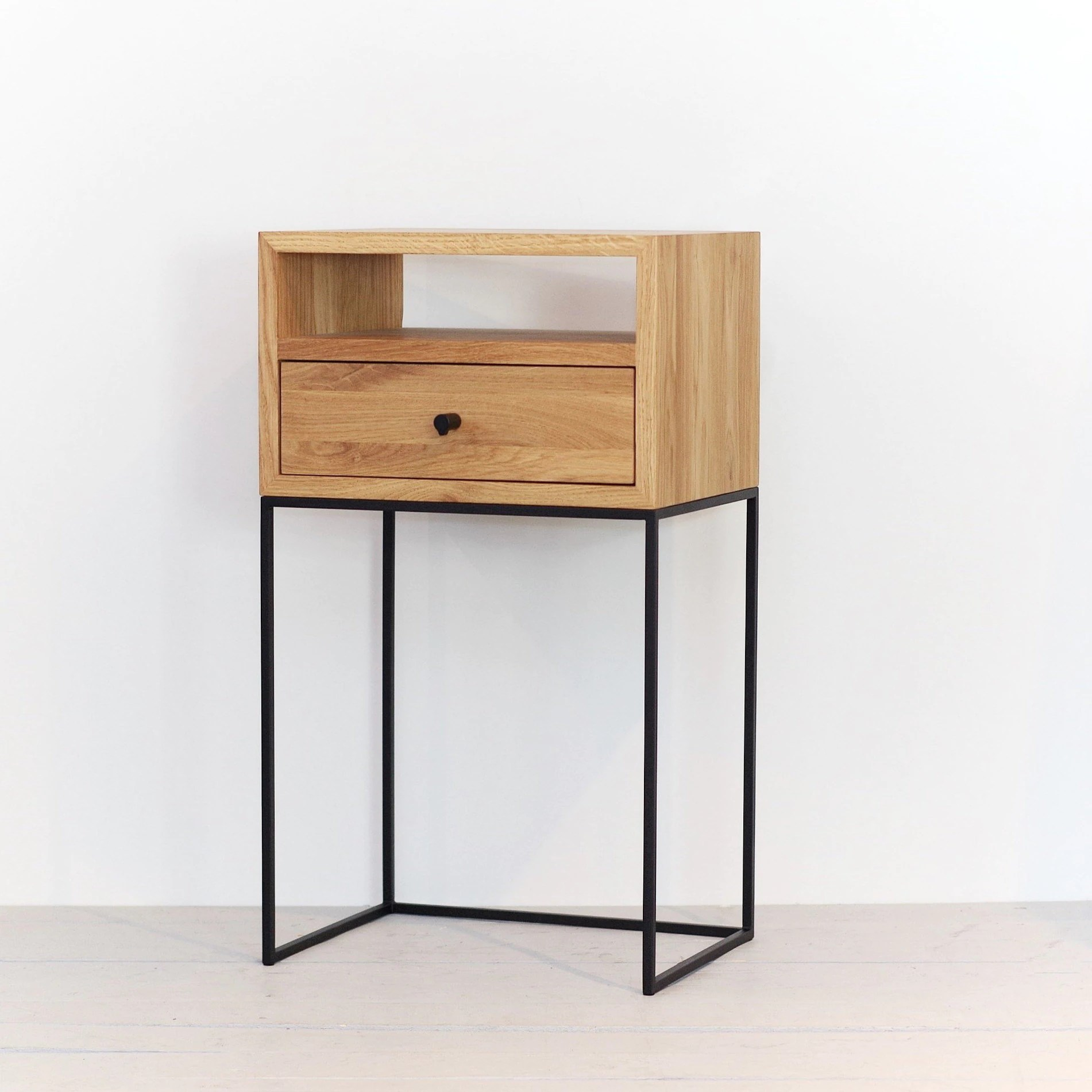 Nightstands With Drawer Modern Bedside Solid Oak And Black Finish Metal Legs Nightstand Solid Oak Side Table End Table No Id 03tow
