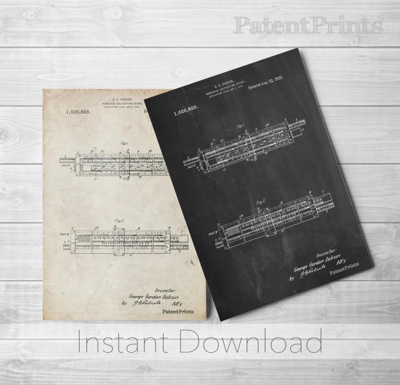 Ruler Printables Slide Rule Patent Poster Math Poster