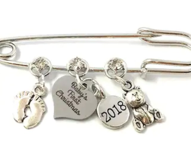 Babys First Christmas  Nappy Safety Pin Keepsake Charms With Baby Feet And Teddy Bear Charms