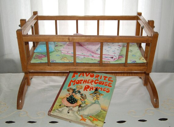 vintage thayer doll cradle crib bed thayer tops for tots wooden doll cradle crib bed w handmade flannel pad pillow and blanket