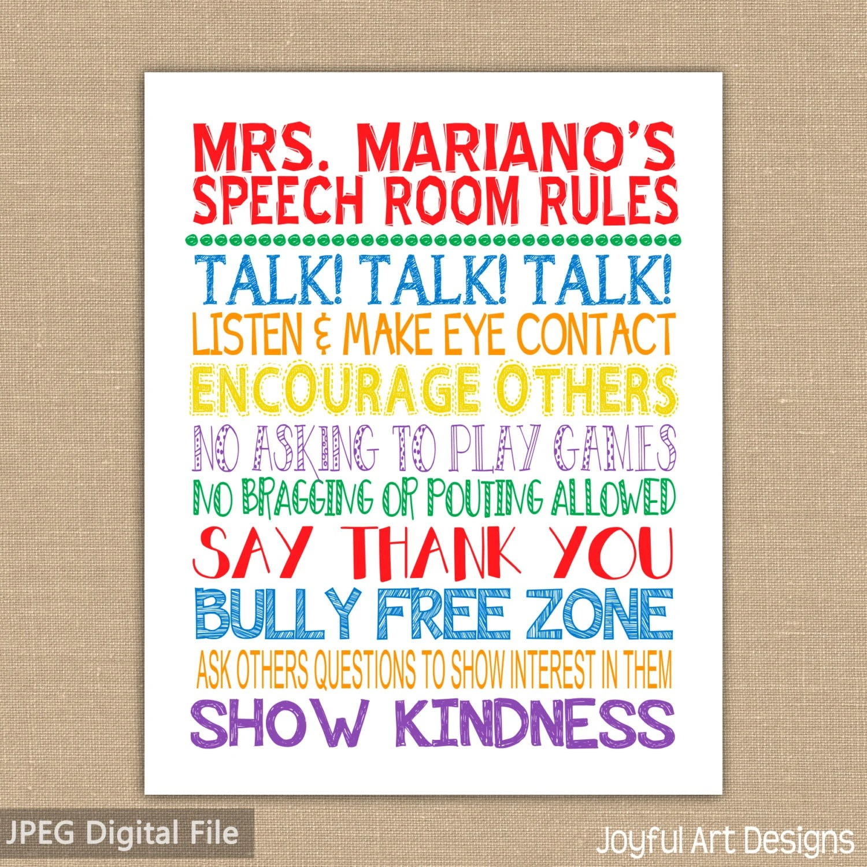 Speech Room Class Rules Printable Classroom Sign Subway