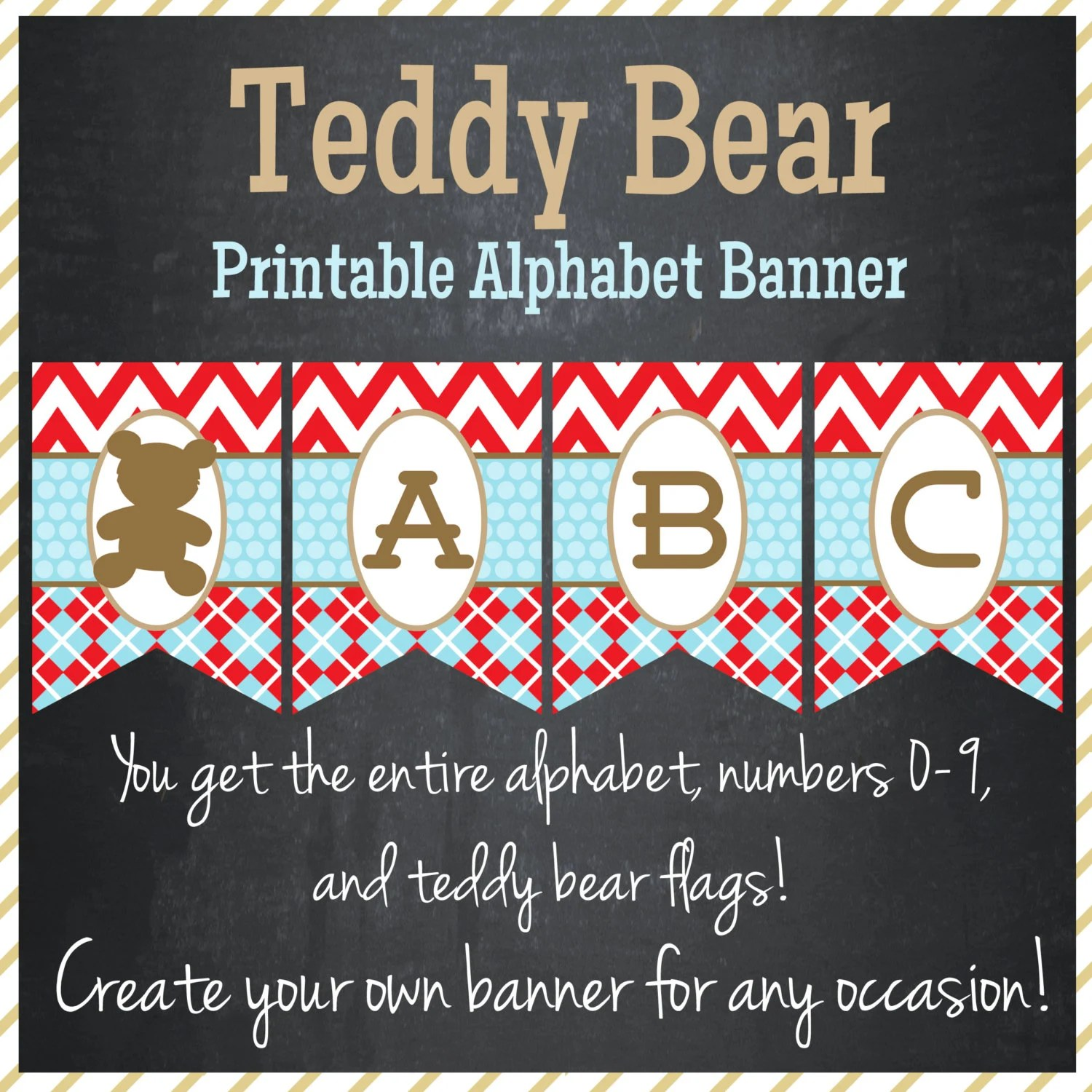 Teddy Bear Banner Printable Alphabet Instant Download