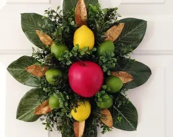 Colonial Williamsburg Style Spray Fruit Door Decoration Magnolia And Boxwood Christmas Decor Leaves