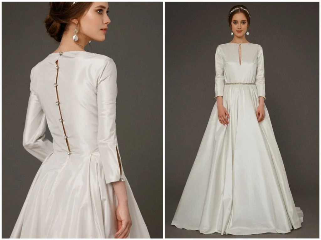 EKDERA / Modest Simple Wedding Dress With Long Sleeves