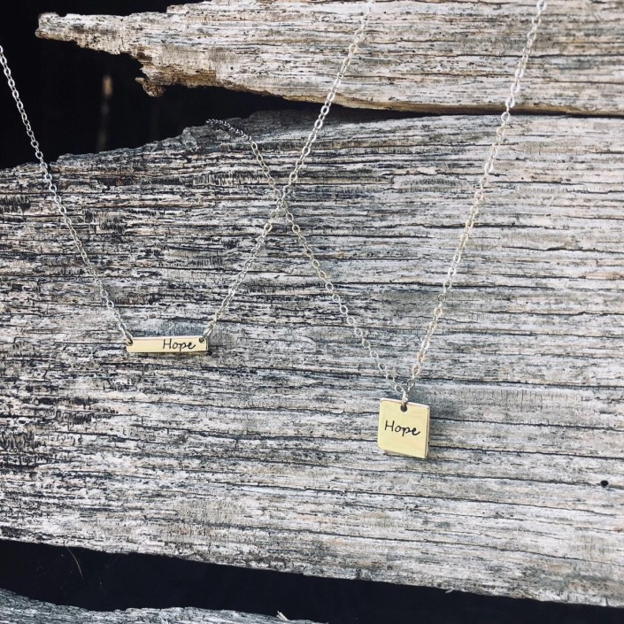 God of Hope: 2019 Mission Necklace - Hand-Stamped, horizontal bar or square, collar length, s