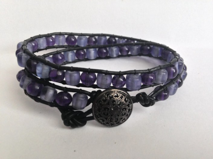 Purple & Black Double Wrap Bracelet *FREE SHIPPING*