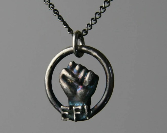 Earth First Jewelry, Power Resistance Fist Necklace by Jackie Taylor Designs
