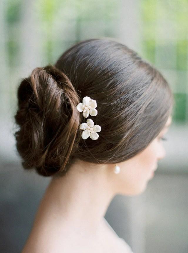flower hair pins, pearl hair pins, floral hair pins, wedding hair pins, rose gold hair pins, flower hair comb, small bridal comb - lottie