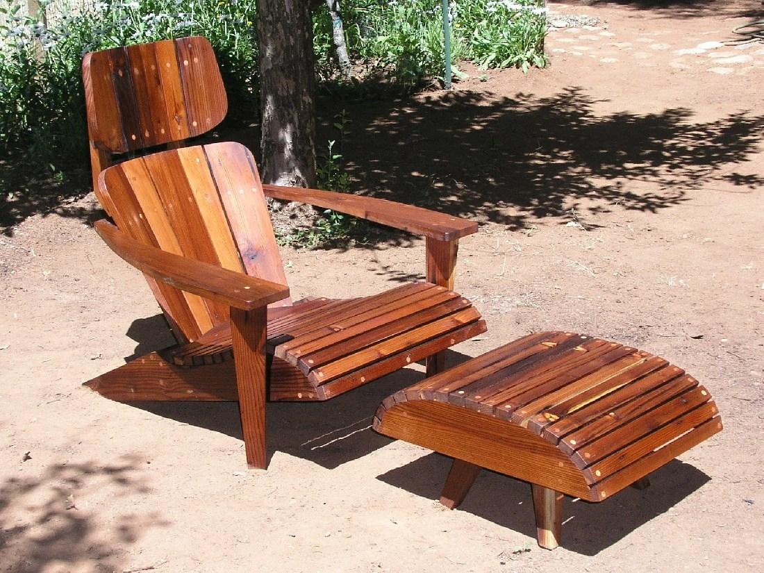 mid century modern adirondack chair redwood mountain modern etsy