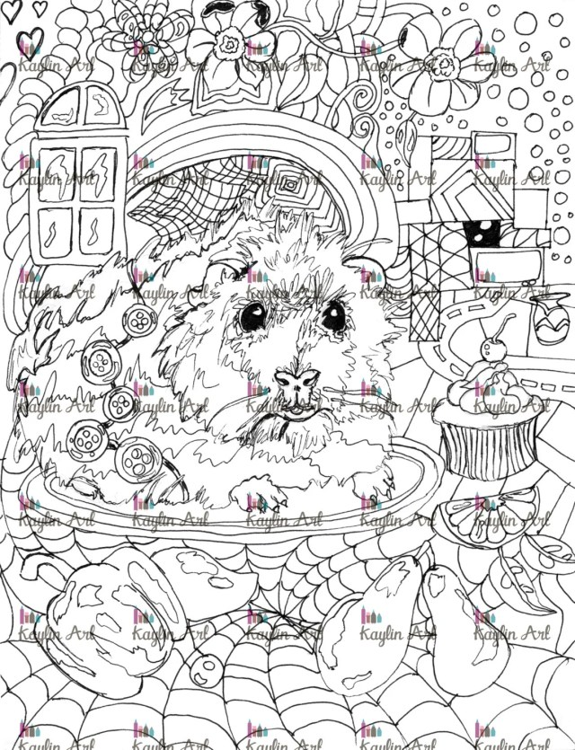 Guinea Pig coloring page Handdrawn super cute Animal forest  Etsy