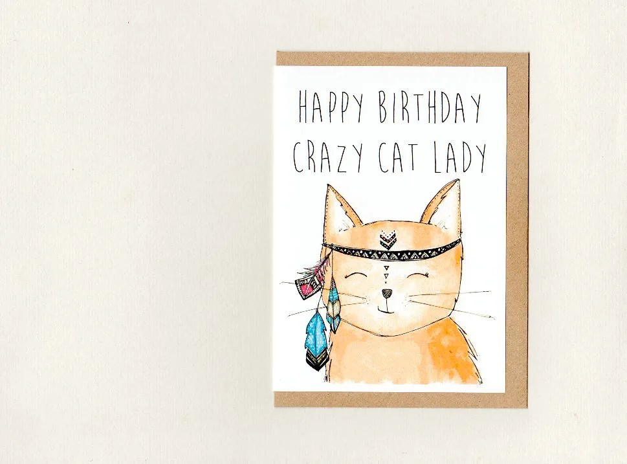 Happy Birthday Crazy Cat Lady Greeting Card Custom Etsy