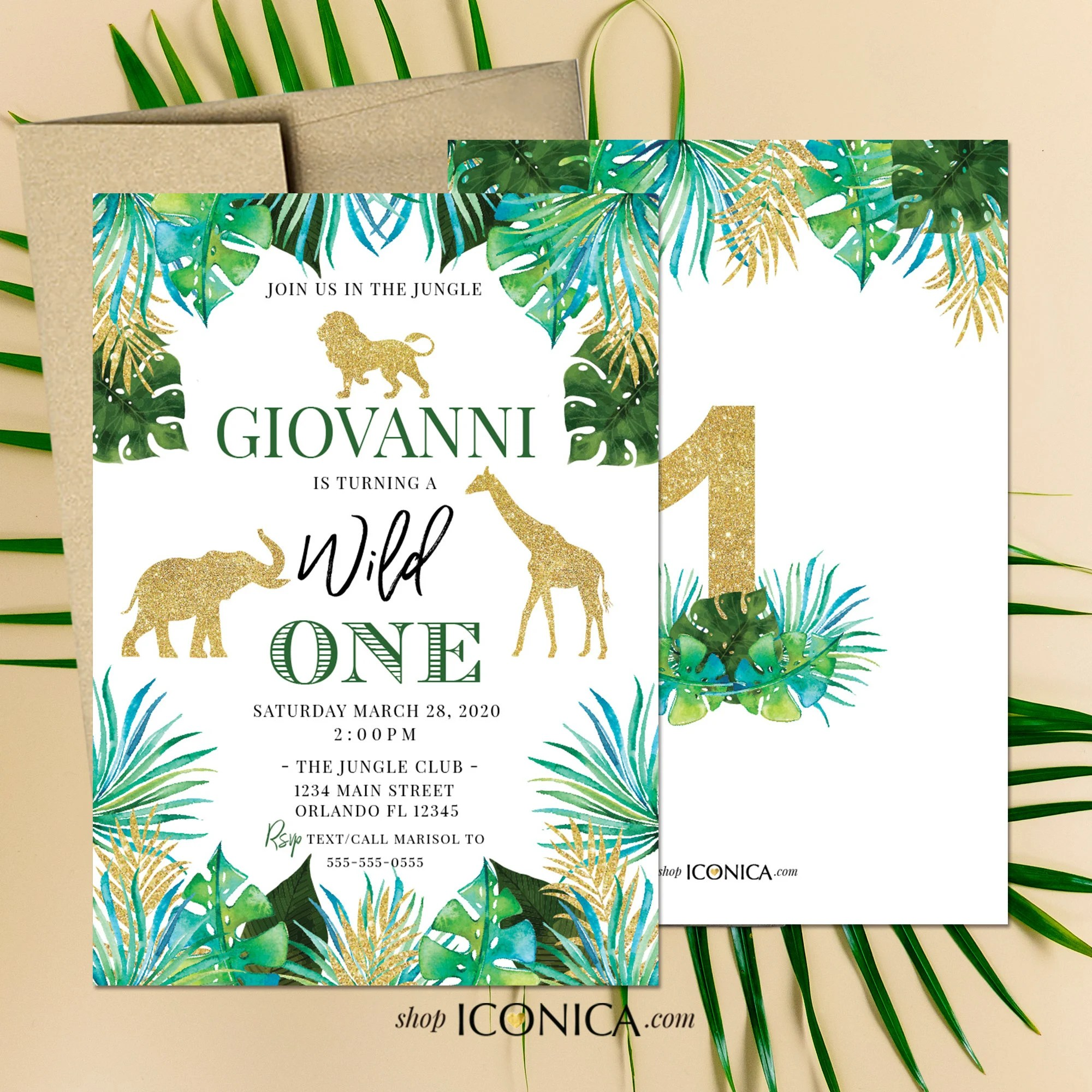 Safari First Birthday Invitation Or Any Age Party Animals Card Wild One Party Invitation Jungle Party Invitations Printed Or Printable File By Iconica Design Catch My Party