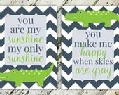 You Are My Sunshine Alligator Boy's Nursery Print Set | 10x13 & 8x10 | Set of 2 | Print-It-Yourself | Digital Download | Printable | Custom