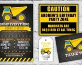 Construction Birthday Printable Set Digital Download | Dump Everything Invitation, Construction Site Sign, Thank You Notes, Party Favor Tags
