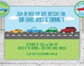 Zoom On Over Cars & Trucks Kid's Birthday Invitation And Cupcake Rounds | Download Printable | Boy Birthday Party Custom Invitation + Decor
