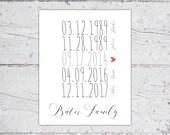 Custom Family Special Dates Print | Mom & Dad Birthday, Wedding Date, Children Birth Dates | Digital Download Printable PDF | Custom Print
