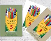 Kid's Crayon Themed Birthday Invite | 5x7 | Printable Digital Download | Crayons Kid's Birthday Party Crayola Inspired | Custom Invitation