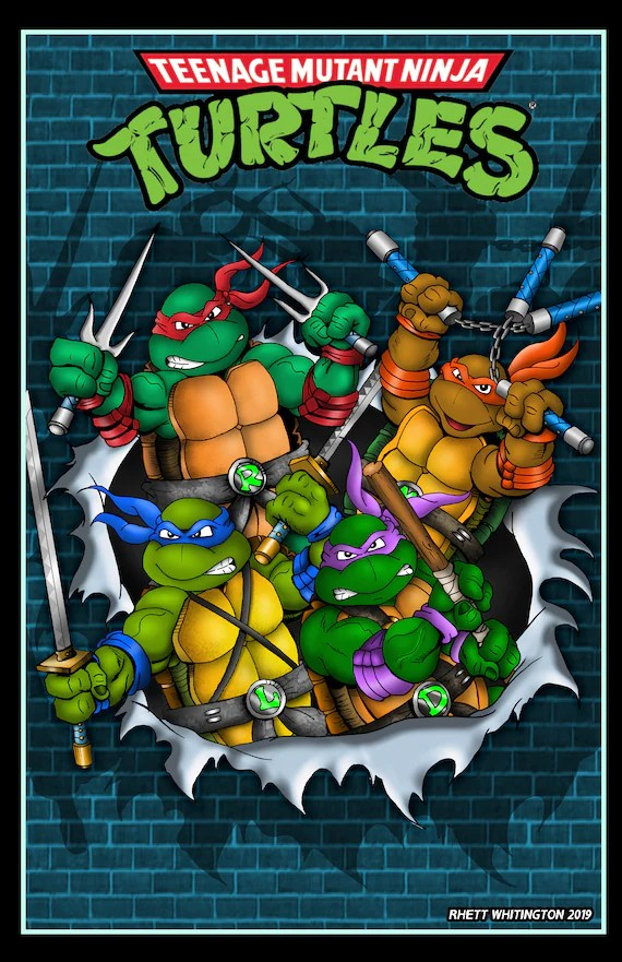 tmnt busting durch wand poster