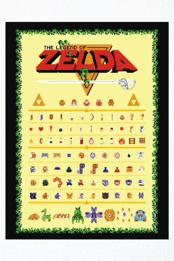 the legend of zelda retro style poster nes link and zelda more nintendo