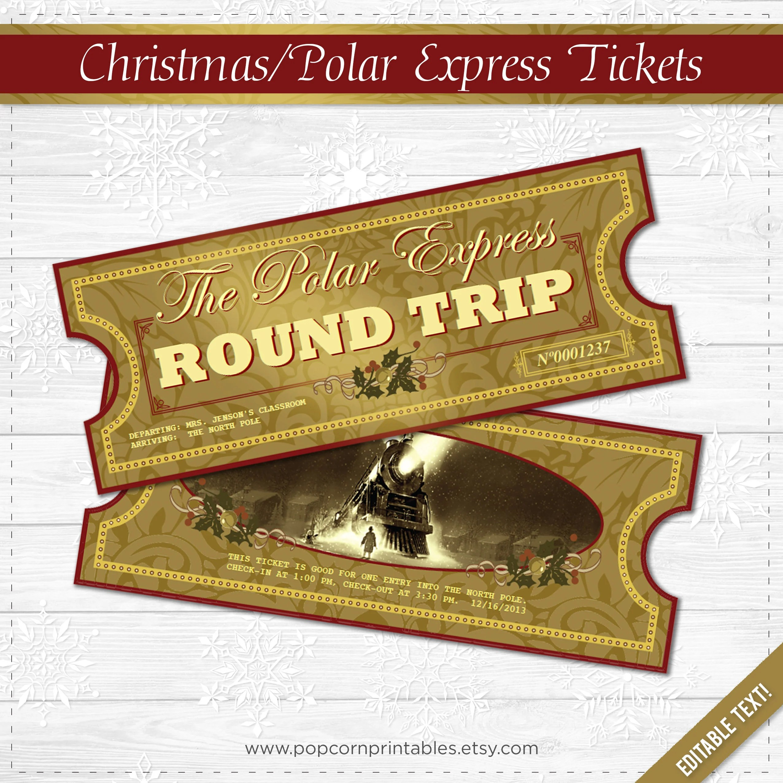 Polar Express Tickets Instant Download File School