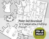 Paper Doll Fashions- Mix & Match Digital Paper Doll Coloring Page- Printable Paper Doll Clothing Set- Dress Up Doll- Paper Doll Clothing